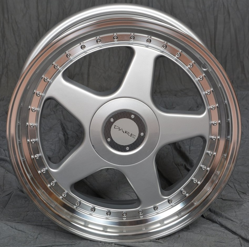 "NEW 18"" DARE DR-F5 ALLOY WHEELS IN SILVER WITH POLISHED DISH WIDER 9.5"" REARS ET35/38"
